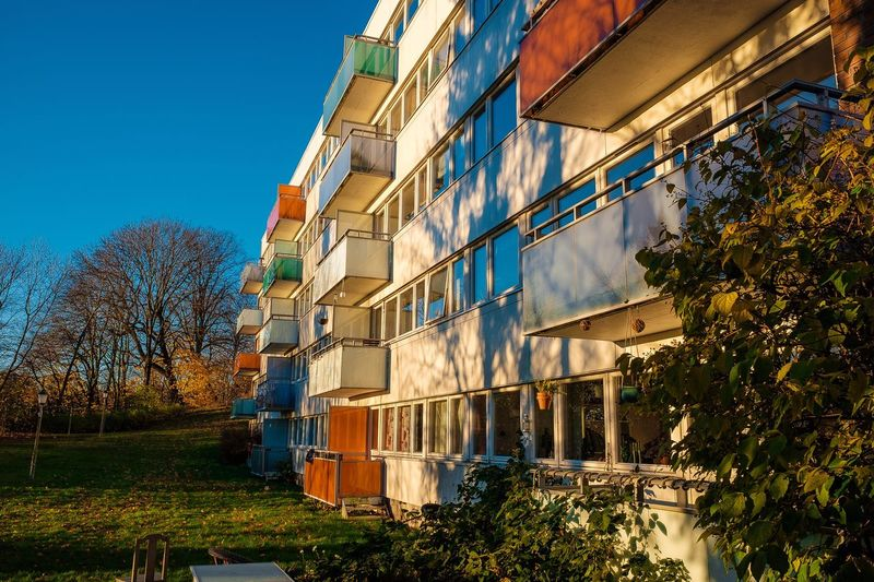 Low sun and colourful balconies at Lovisenberg in Oslo. Architecture Tree Sky Built Structure Building Exterior Oslo Lovisenberg Norway Fujifilm X70 Colors