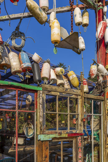Low angle view of market stall for sale