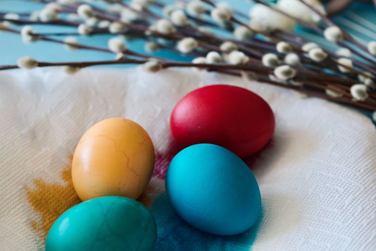 EyeEm Selects Still Life Indoors  Multi Colored Close-up No People Egg Easter Egg Food Easter Blue Table Holiday Focus On Foreground Celebration