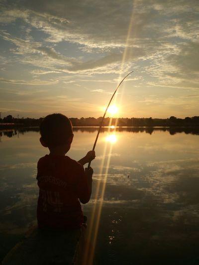 Fishing Water Men Sunset Standing Sportsman Sport Sunlight Silhouette Fishing Fishing Tackle Fishing Rod Fishing Equipment Fishing Hook