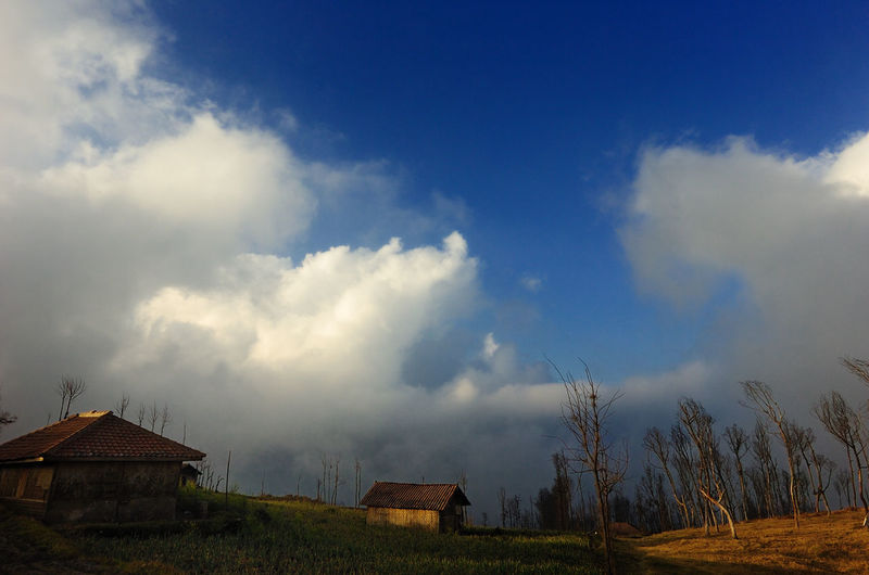 Houses On Field Against Cloudy Blue Sky On Sunny Day