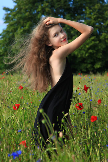 Long Hair Brown Hair Flower Beauty Beautiful Woman Nature Nature Lightroom❤ Session Canon Photography Oliwka ❤ Day One Woman Only Portrait Women