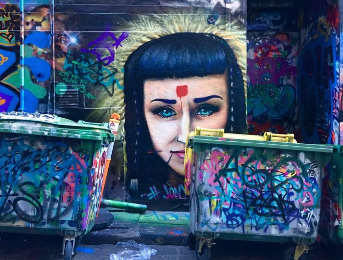 Street Art Melbourne Dustbin Street Art Art Multi Colored Portrait Graffiti Young Adult Headshot Art And Craft Creativity Paint The Creative - 2019 EyeEm Awards