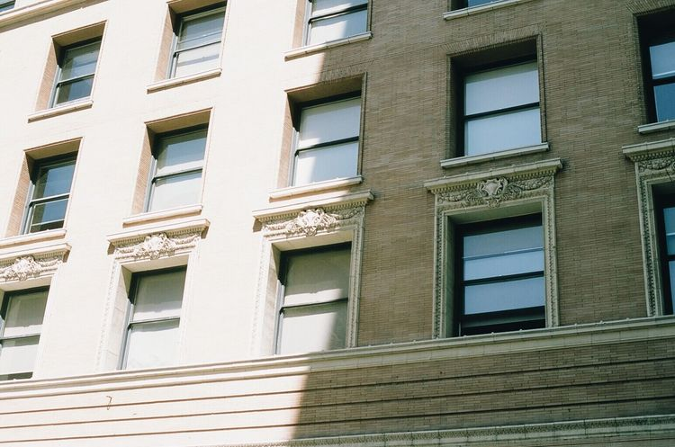 Window Architecture Building Exterior Built Structure Residential Building Façade Outdoors No People Day City Close-up Downtown Fujifilmprovia100f Losangeles NikonFM2