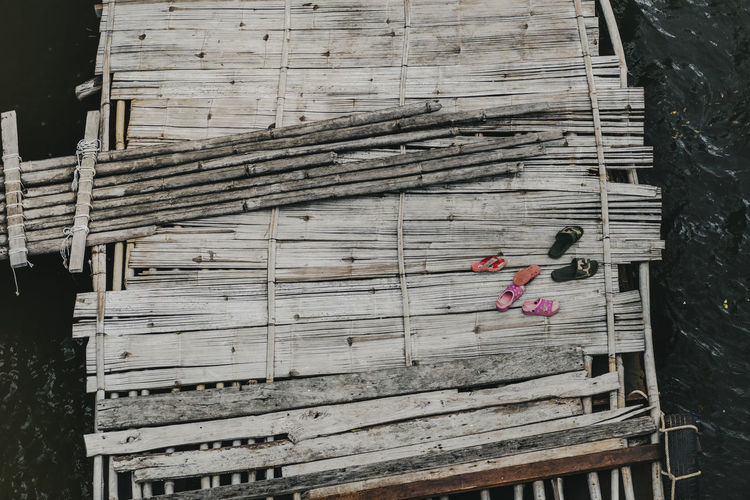 High angle view of wooden structure