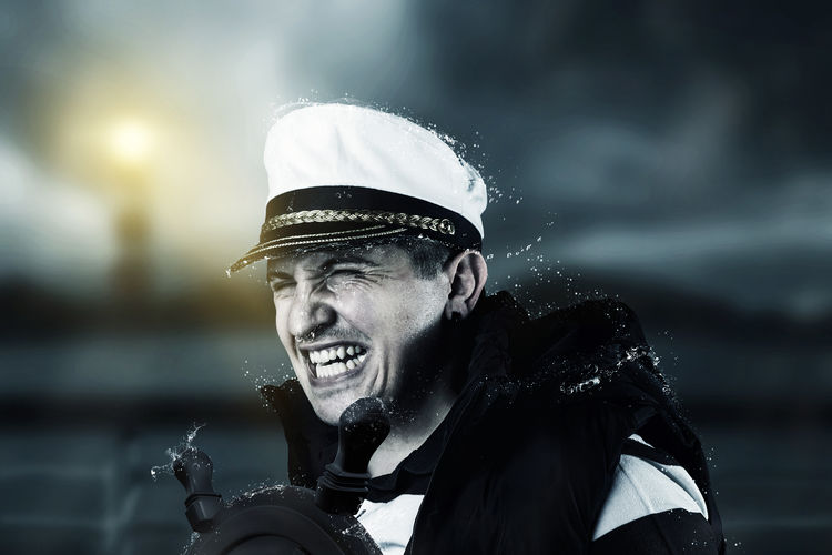 Digital composite image of sailor on boat