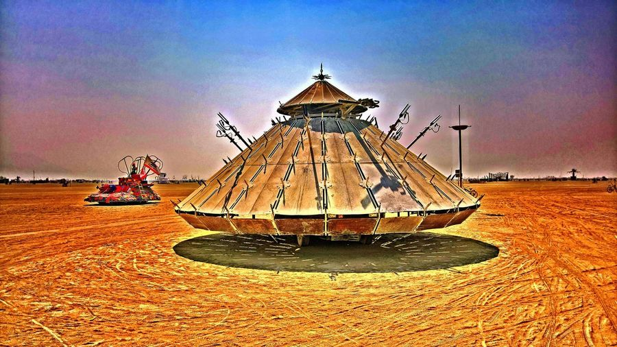 Black Rock City Architecture Built Structure Burning Man 2017 Carousel Day Dust Mutant Vehicle Nature No People Outdoors Sculpture Sky Statue