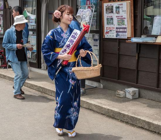 Japanese ladies in traditional yukata, in Itako, Japan Attraction Blue Culture Custom Dress Girls Itako Japan Japanese  Ladies Local People Person Traditional Woman YUKATA
