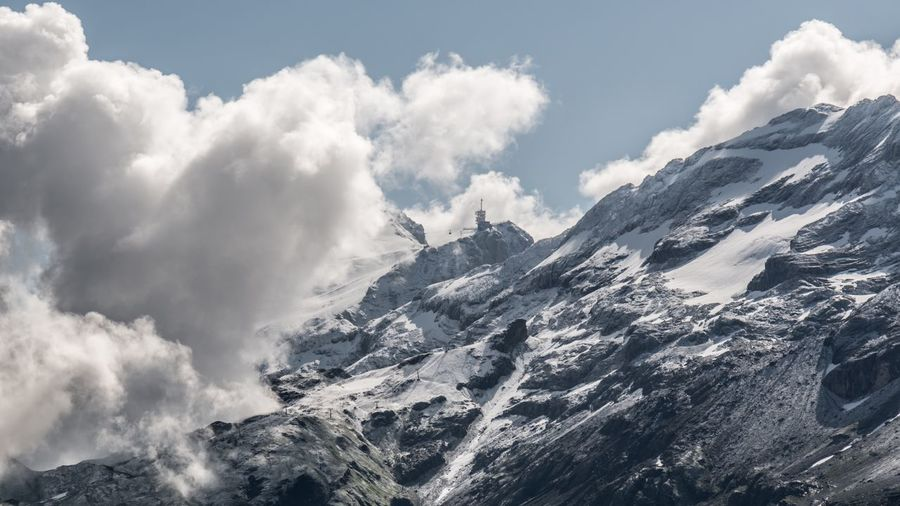 Scenic View Of Mount Titlis Against Cloudy Sky