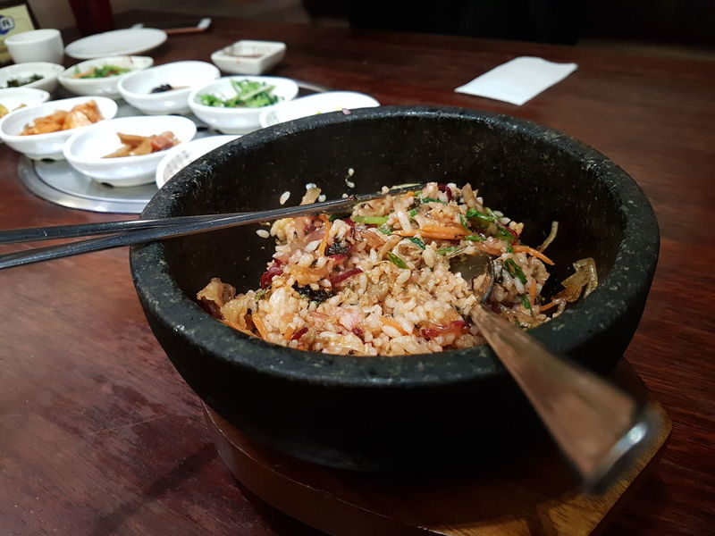 Korean hot stone bibimbap (mixed rice) Mixed Rice Korean Food Korean Asian  Hot Stone Indoors  Food And Drink Food No People Table Freshness Healthy Eating High Angle View Serving Size Bowl Plate Close-up Ready-to-eat Food Stories