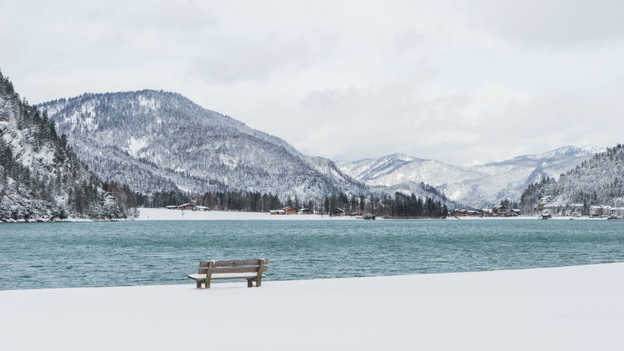 Achensee Austria Bench Cloudy Lonely Romantic Tirol  Beauty In Nature Cold Temperature Day Lake Lake View Lakeshore Mountain Mountain Range Nature No People Outdoors Scenics Silence Silent Moment Snow Tranquility Water Winter Shades Of Winter