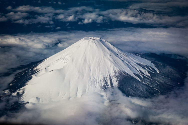 Aerial view of snowcapped mountains volcano against sky