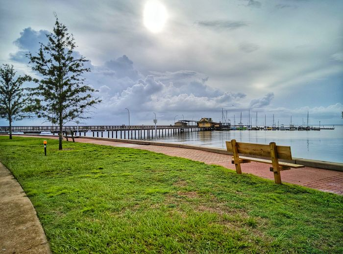 By the Pier Smartphonephotography Nature Pier Bench Sea Beach Sky Grass Horizon Over Water Pier Shore Calm EyeEmNewHere