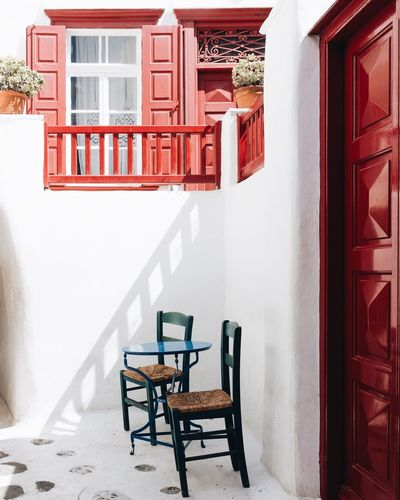 Mykonos EyeEm Best Shots Vacations TheWeekOnEyeEM Travel Destinations Cyclades EyeEm Selects Travel Photography EyeEm Gallery EyeEmNewHere Greece Architecture Built Structure Seat Building Exterior Chair Wall - Building Feature Building Red