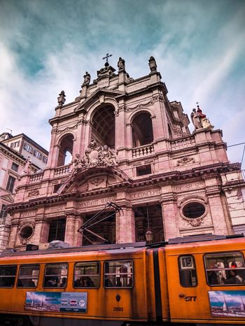 Modern and ancient Architecture Italy Torino Turin Church Tramonto Tram Tranquility Sky Low Angle View Architecture Building Exterior Cloud - Sky Built Structure Outdoors Day Transportation No People