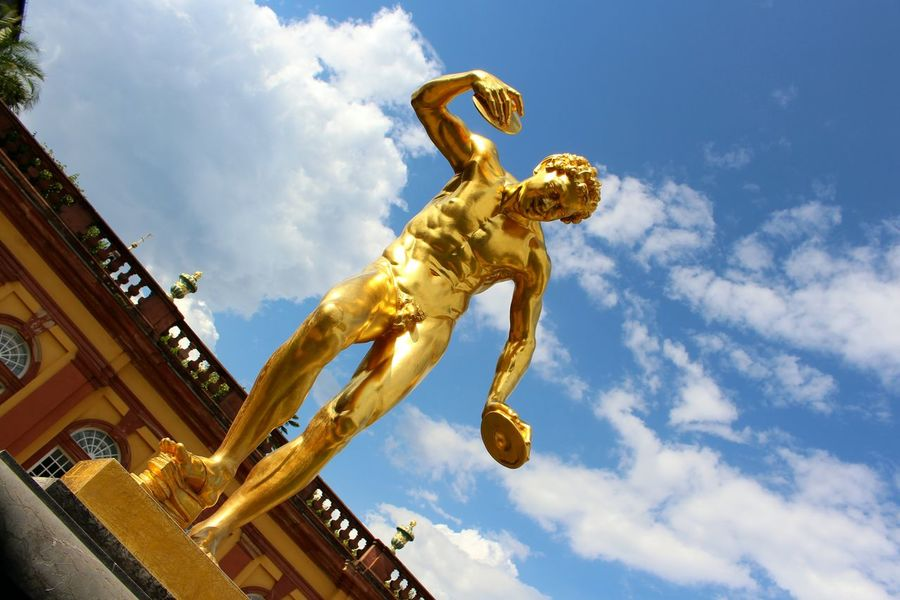 Happy saturday 😊🌸✌️ Low Angle View Sculpture Cloud - Sky Sky Gold Colored Art And Craft Yellow Cloudy Cloud Monument Golden Statue Weilburg Picsartrefugees