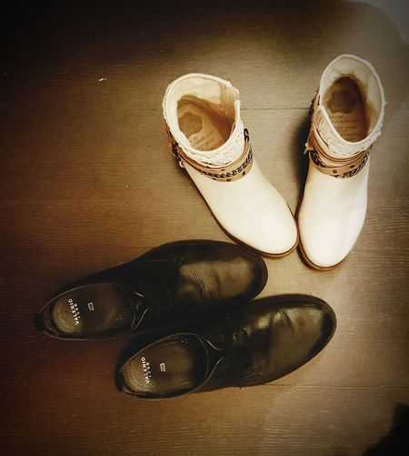 Shoes Me And You❤️ Black & White Goodnight Retro Style Twice In The Castle Still Life Pair High Angle View