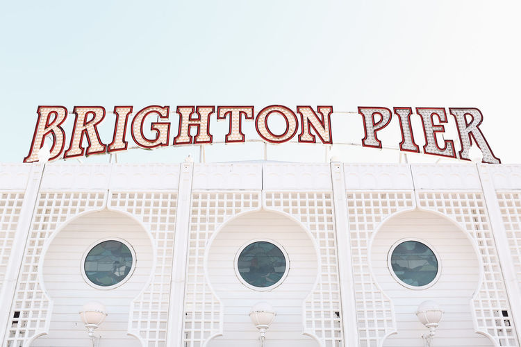 Low Angle View Of Brighton Pier Sign