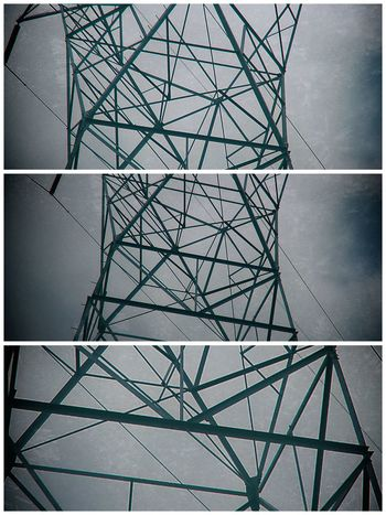 Architecture Built Structure Ceiling Complexity Connection Day Design Directly Below Electricity  Fuel And Power Generation Full Frame Geometric Shape Low Angle View Metal Modern Nature No People Outdoors Pattern Power Supply Sky Technology