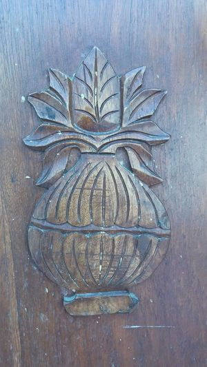 No People Directly Above Day Outdoors Close-up Pot Kalash Leaves Wood Art Door Painting