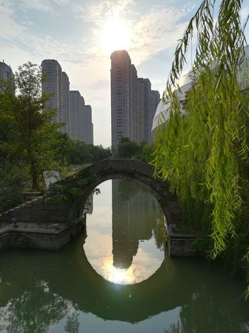 Reflection Water Tree Park - Man Made Space Architecture Skyscraper Urban Skyline Cityscape Outdoors Sunset Keqiao Shaoxing