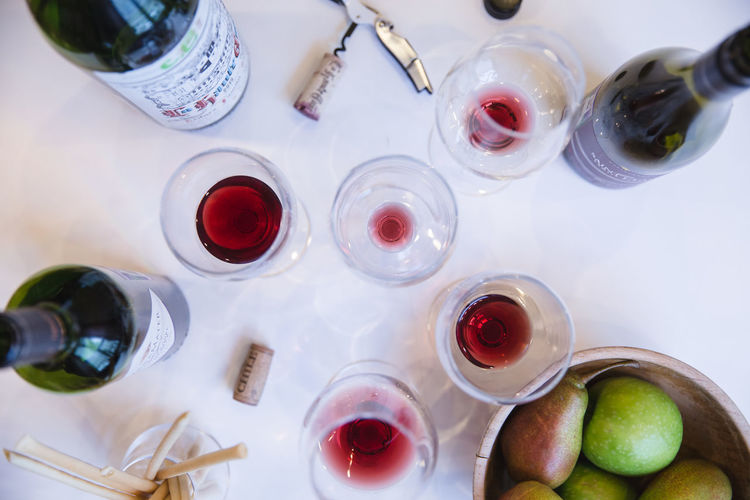 Wine Tasting Alcohol Bottle Drink Drinking Glass Food And Drink Fruit High Angle View Red Wine Table Wine Wineglass