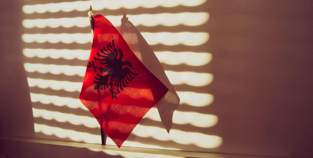 Albanian Flag Albania Eagle Flag Kosovo Light And Shadow Proud Red And Black Shqiperia Sun