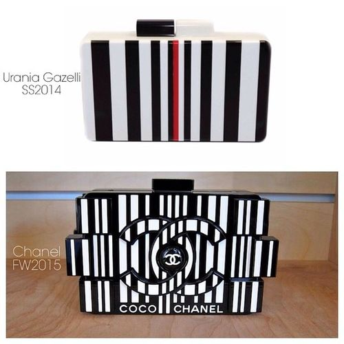 Find the Differences. Not! ? Above my Barcode Clutch for Spring/Summer 2014 - Below Chanel Lego clutch for Fall/Winter 2015! Happy to see that Chanel have been inspired with my barcode idea! Iamsocool Uraniagazelli Barcodeclutch Ss14 iaminspiration makingtrend