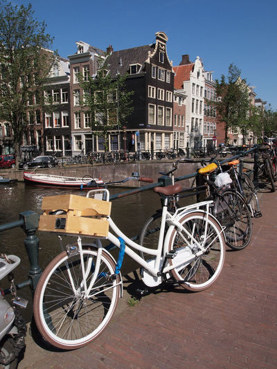 Amsterdam Architecture Bicycle Bike Bridge Buildings Canal City City Life Day Dutch Europe European  Gracht Holland Merchant's Houses Mode Of Transport Netherlands No People River Street Town Travel