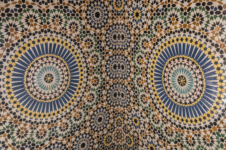 Pattern No People Backgrounds Full Frame Circle Geometric Shape Architecture Shape Design Art And Craft Travel Destinations Close-up Craft Indoors  Creativity Travel Symmetry Tile History The Past Floral Pattern Ornate Concentric Directly Below Mosaic Moroccan Tiles Craftmanship