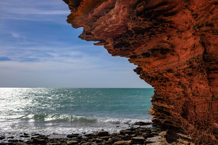 Broome, Gantheaume Point coastline Australia Australian Landscape EyeEm Best Shots The Week On EyeEm Western Australia Beach Beauty In Nature Coast Day Horizon Over Water Natural Arch Nature No People Outdoors Rock - Object Rock Formation Scenics Sea Sky Tranquil Scene Tranquility Water