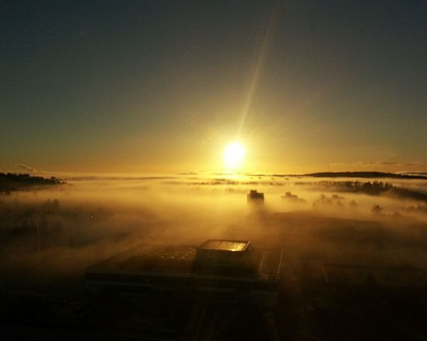 Fog Over The City Sun And Fog Oslo Norway