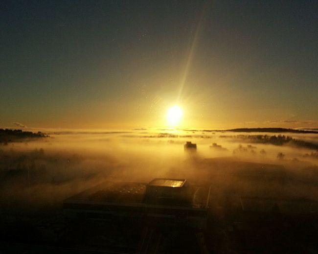 Fog Over The City Sun And Fog Oslo Norway