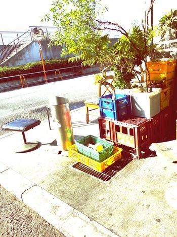 喫煙所。朝の大阪市中央売場の散歩道です。