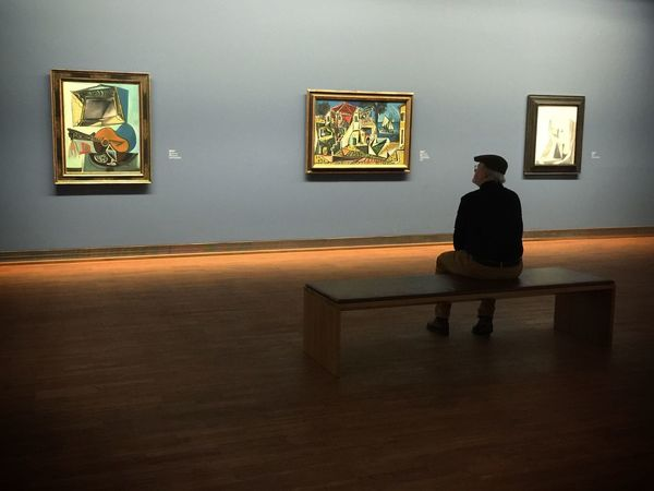A man admiring Picasso's works at Albertina museum in Vienna Art Museum Traveling Tc-ce2014