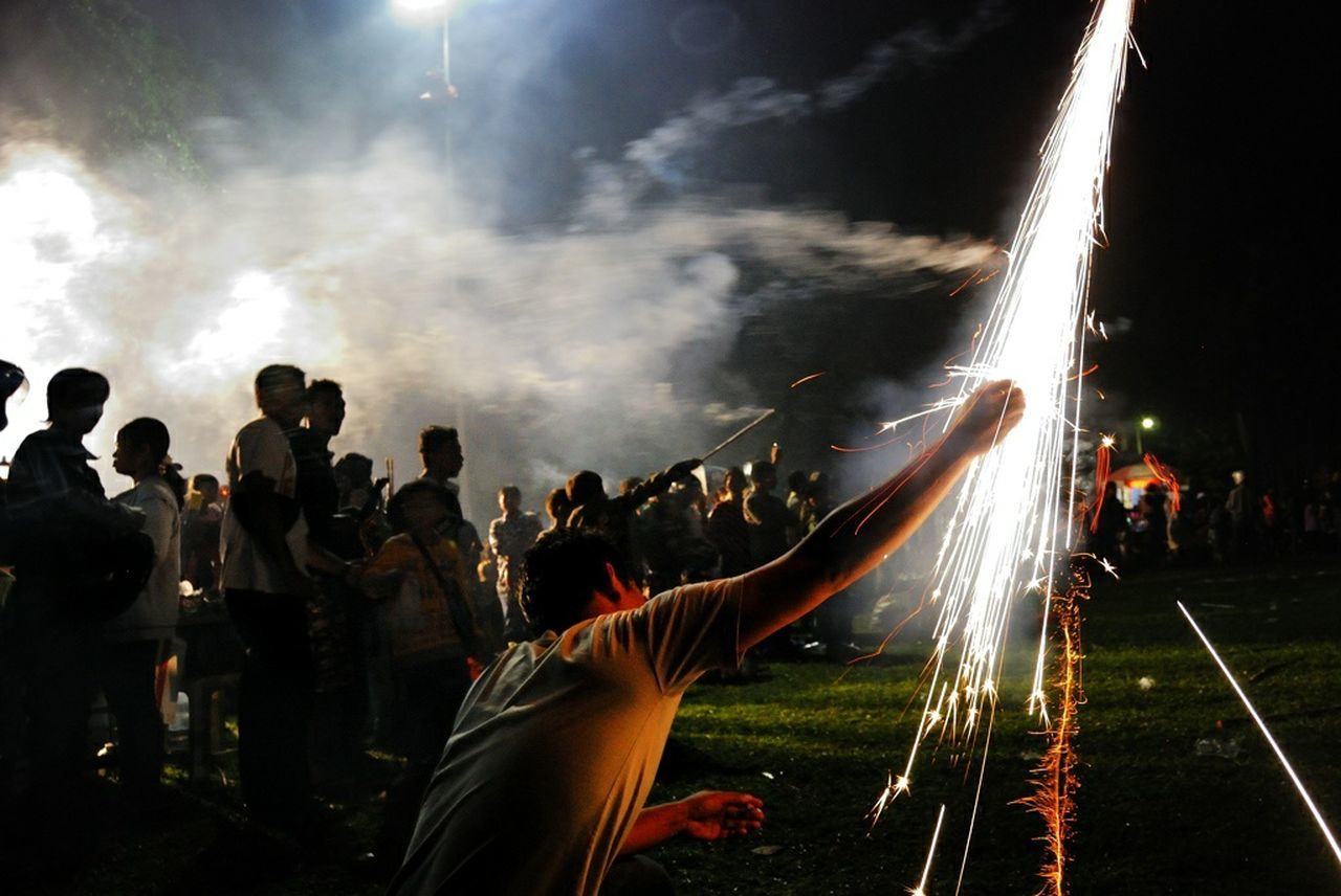 Man With Distress Flare During New Years Eve