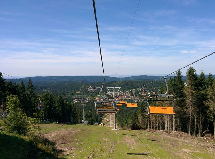 High Angle View Of Ski Lift Against Sky