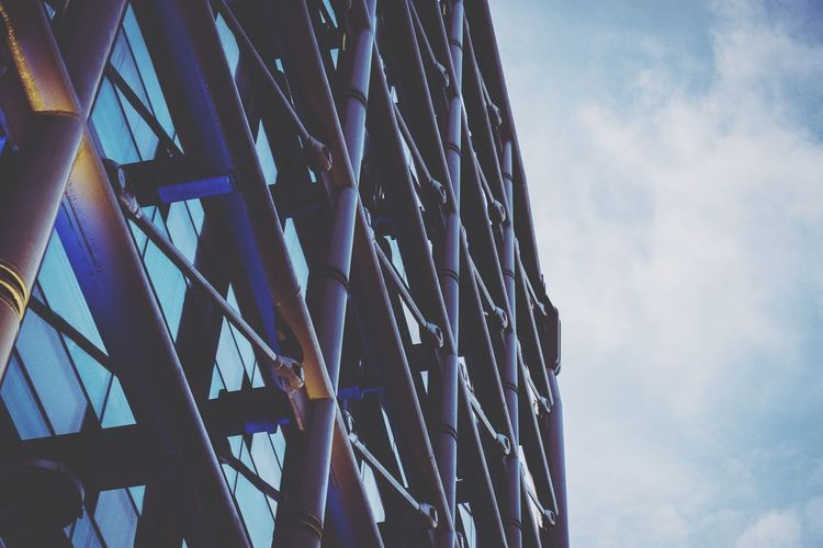 Architecture Business Finance And Industry Sky Low Angle View Built Structure Cloud - Sky No People Blue Girder Steel Growth Day Outdoors City