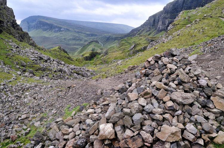 A large cairn built by walkers - The Quiraing, Isle of Skye Highlands Scotland Hiking Scotland Skye Cairn Cloud - Sky Environment Highlands Highlands Of Scotland Hiking Trail Landscape Mountain No People Rock Rock - Object Rocks Scenics - Nature Walking