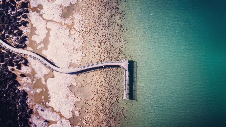 Aerial view of jetty at beach
