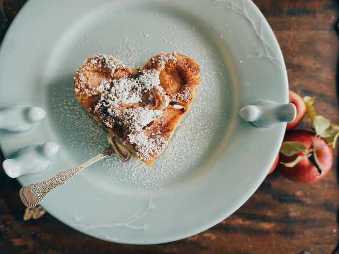 Close-Up Of Heart Shape Waffle In Plate