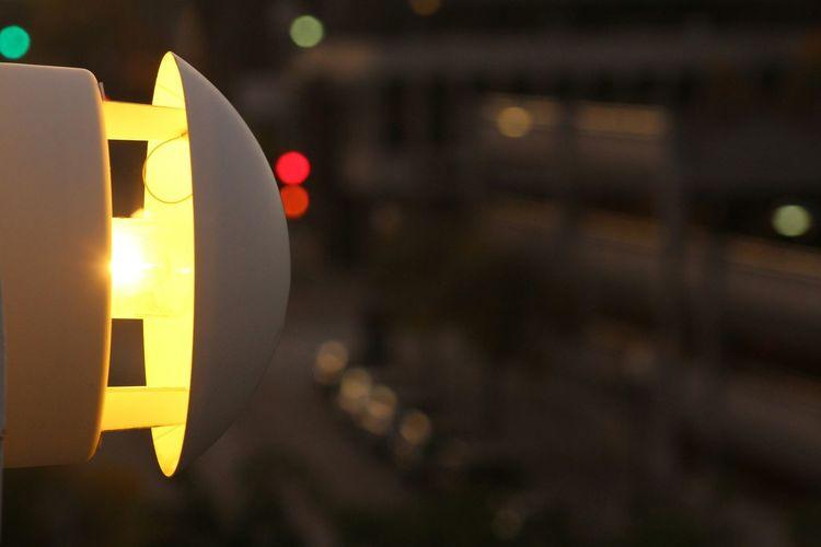 Close-up of yellow lights