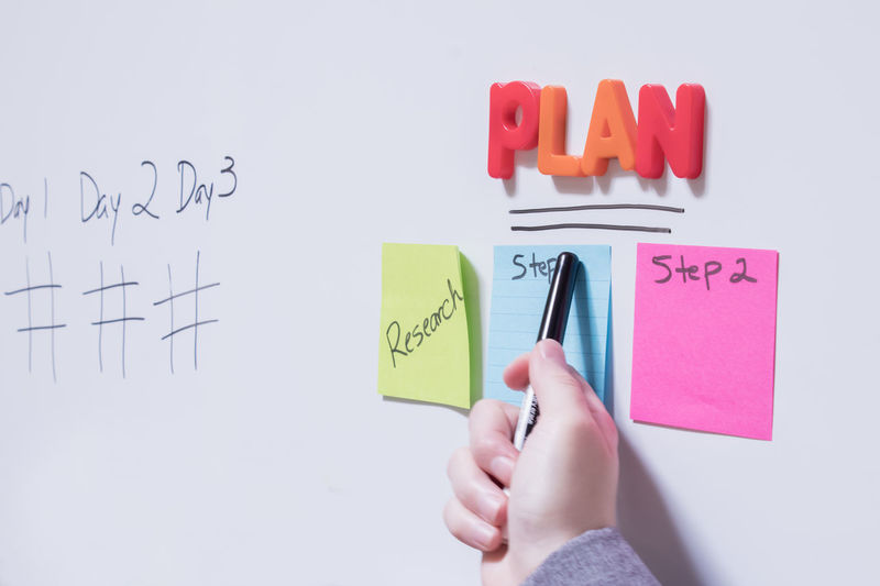 Business Goals Plan Planning Steps Text White Board Colorful Communication Human Body Part Human Hand One Person Postit Postits Professional Reminder Strategic Strategy Text White Background Whiteboard Whiteboards