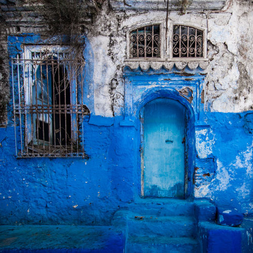 Haunted Africa Architecture Blue Building Exterior Built Structure Chefchaouen Close-up Day Door Morocco No People Old Outdoors Window