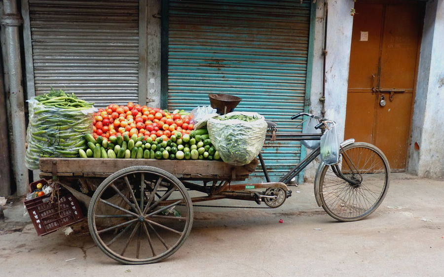 Cucumber Delhi India Cycle Riksha Day Food Freshness Healthy Eating Ladyfingers No People Selling On The Street Tomatoes Transportation Typical India Vegetable