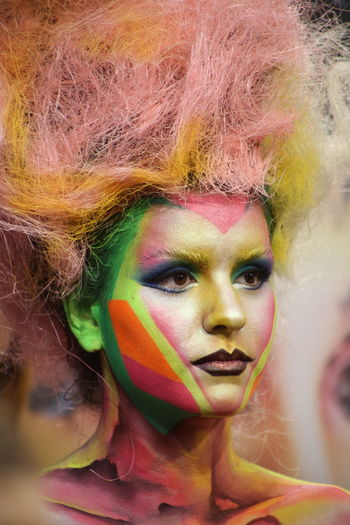 Multi Colored Face Paint Paint Portrait Beauty Make-up Beautiful Woman Yellow Body Paint Body Painting
