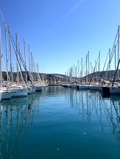 Bodrum Marina Clear Blue Eater And Sky Springtime Colors EyeEm Selects The Week on EyeEm The Best Of Eyeem Clear Blue Eater And Sky Two Sides, Two Everything Vertical Mast Sail Boats A Dock Bodrum Marina Bodrum Water Sky Reflection Nautical Vessel Nature Transportation No People Mode Of Transportation Day Mast Sea Moored Sailboat Waterfront Outdoors Clear Sky Blue Pole