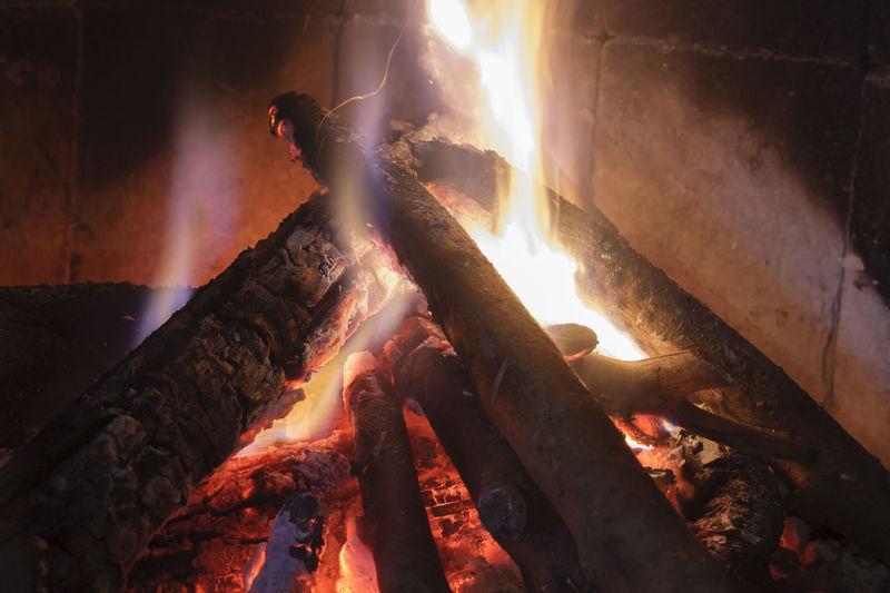 Bonfire on log
