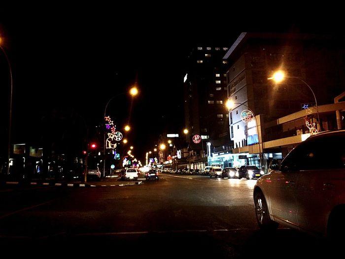 My City Car Illuminated City Street Building Exterior Road Travel Destinations WindhoekCity Windhoek, Namibia