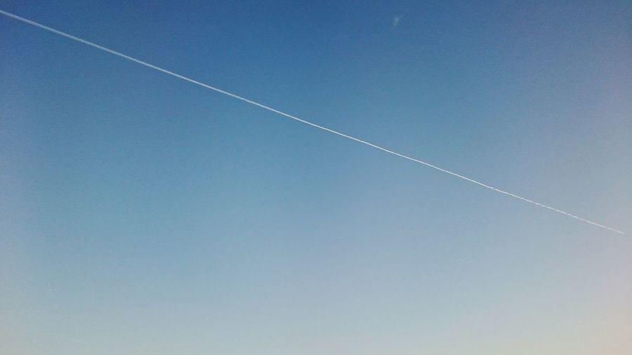 Sky Vapor Trail Airplane Outdoors Sky